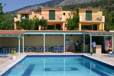Holiday Apartments and Swimming Pool, Lourdas, Kefalonia, Greece by Peter Thompson