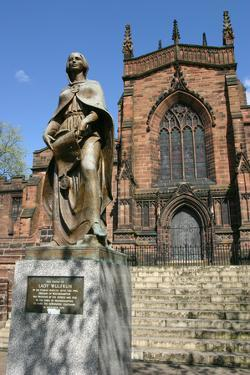 Lady Wulfrun Statue and St Peters Church, Wolverhampton, West Midlands by Peter Thompson
