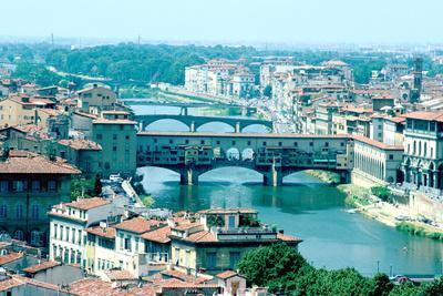 River Arno and Ponte Vecchio from Piazzale Michelangelo, Florence, Italy