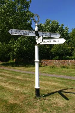 Signpost Pointing to Jane Austens House, Chawton, Hampshire by Peter Thompson