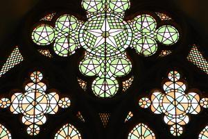 Stained Glass Window, Lala Mustafa Pasha Mosque, Famagusta, North Cyprus by Peter Thompson