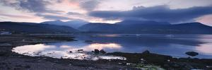 View across Brodick Bay to Beinn Tarsuinn and Goatfell at Sunset, Arran, North Ayrshire, Scotland by Peter Thompson
