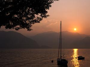 Yacht at Sunset, Lake Maggiore, Italy by Peter Thompson