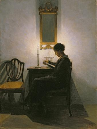Woman Reading by Candlelight, 1908