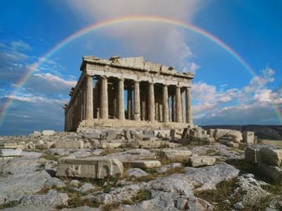Rainbow in Sky, Parthenon, Greece