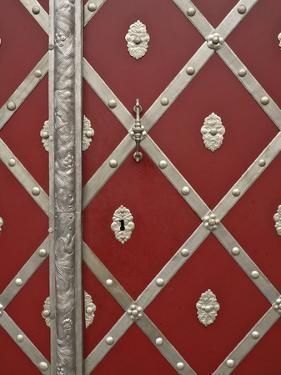 Czech Republic, Prague. Metal Red Door Detail by Petr Bednarik