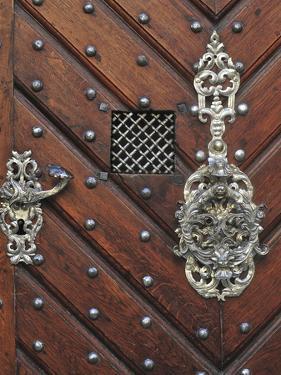 Czech Republic, Prague. Wooden Door with Silver Ornaments by Petr Bednarik