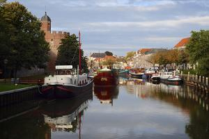 Holland, Zwolle. Pancake Ship and Other Boats on a Canal in Zwolle by Petr Bednarik
