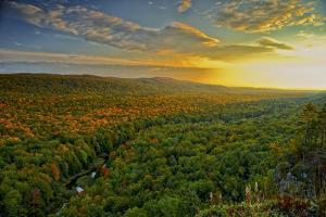 Michigan, Upper Peninsula. Sunset at Porcupine Mountains by Petr Bednarik