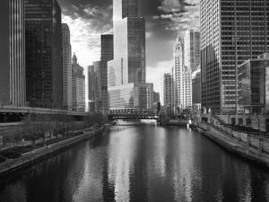 USA, ILlinois, Chicago. Bridge with Trump Tower and Chicago Tribune by Petr Bednarik