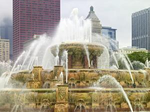 USA, ILlinois, Chicago. Buckingham Fountain with Skyscrapers Behind by Petr Bednarik
