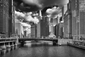 USA, ILlinois, Chicago. State Street Bridge and Cityscape by Petr Bednarik