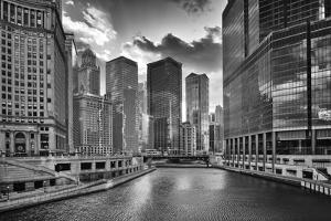 USA, ILlinois, Chicago. Wabash Avenue Bridge and Cityscape by Petr Bednarik