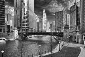 USA, ILlinois, Chicago. Wabash Avenue Bridge with Cityscape by Petr Bednarik