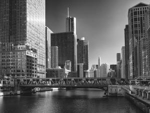 USA, ILlinois, Chicago. Wells Street Bridge and Cityscape by Petr Bednarik