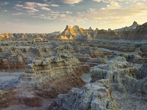 USA, South Dakota, Badlands National Park. Sunset over the Mountains by Petr Bednarik
