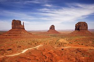 Utah, Monument Valley Overlook. Three Mesas Standing in the Desert by Petr Bednarik