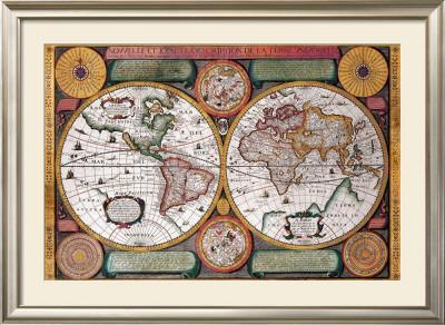 Antique Map, Terre Universelle, 1594 by Petro Plancio