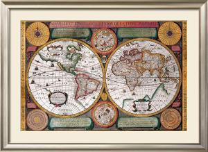 Antique Map, Terre Universelle, 1594 by Petro Plancio