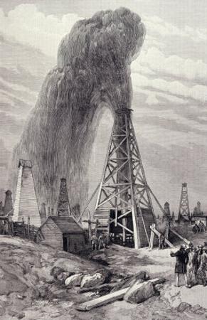 Petroleum Oil Wells, Baku, Caspian: A Fountain of Petroleum Oil, The Illustrated London News, 1886