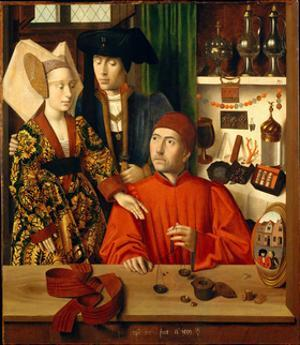 A Goldsmith in His Shop by Petrus Christus