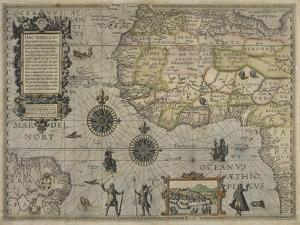 Map of Africa and Brazil, Amsterdam, ca. 1595 by Petrus Plancius