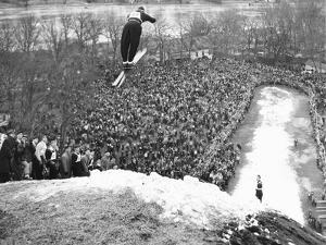 Petter Hugsted, 1948 Olympic Ski Jumping Champion, Takes Off at Fox River Grove