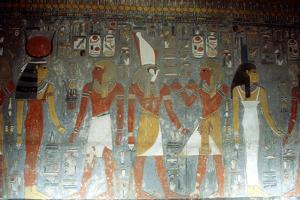 Pharaoh Horemheb with the Goddess Isis and the God Horus, Ancient Egyptian, 14th Century Bc