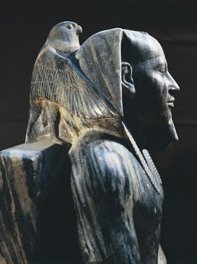 Pharaoh Khafre on the Throne with the Wings of the Falcon God Horus Wrapped around His Head