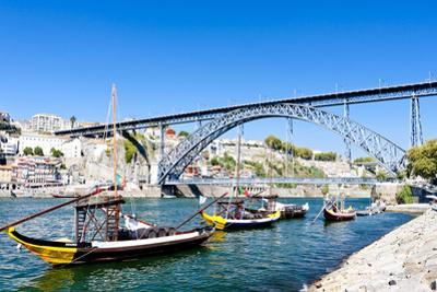 Dom Luis I Bridge and Typical Boats (Rabelos), Porto, Portugal by phbcz