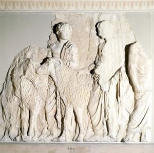 Parthenon Frieze, Elgin Marbles, Sacrifice Procession with Ram, c5th century BC by Phidias