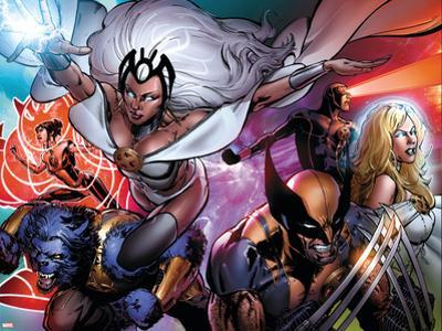 Astonishing X-Men #31 Cover Featuring Storm, Wolverine, Beast, Armor, Frost, Emma, Cyclops by Phil Jimenez