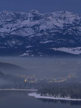 Donner Lake and Haze from Wood Smoke over Truckee, California by Phil Schermeister