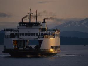 Early Morning Ferry Leaves Seattle, Washington for Bainbridge Island by Phil Schermeister