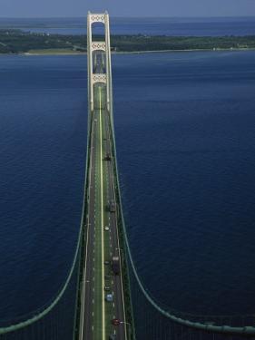 Lakes Michigan and Huron Meet, Mackinac Bridge, St. Ignace, Michigan by Phil Schermeister