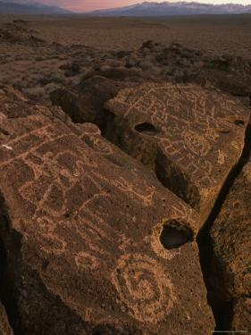 Petroglyphs on Volcanic Rock in Owens Valley, California by Phil Schermeister