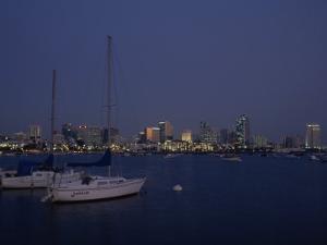 Sailboats with San Diego Skyline in Background by Phil Schermeister