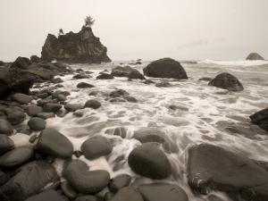 Shown are Scenes of Waves, Surf and Rocky Shoreline at Hidden Beach by Phil Schermeister