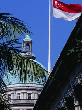 Flag and Dome of Old Supreme Court, Singapore, Singapore by Phil Weymouth