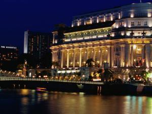 Fullerton Hotel at Night, Singapore, Singapore by Phil Weymouth