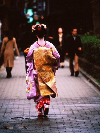 Geisha in Kimono Walking Away, Pontocho Districts, Kyoto, Japan