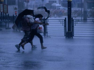 Typhoon Force 8 Hits Pedestrians in the Street, Kowloon, Hong Kong, China,