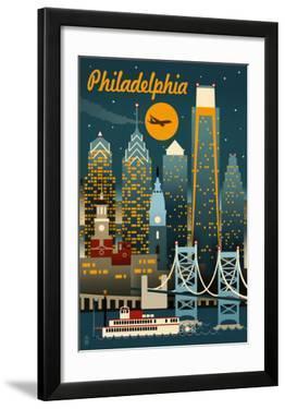 Philadelphia  Pennsylvania - Retro Skyline