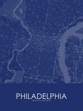 Philadelphia, United States of America Blue Map