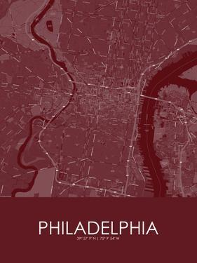 Philadelphia, United States of America Red Map