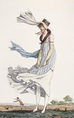 A Ladies Summer Promenade Dress, 1800 (Coloured Engraving) by Philibert Louis Debucourt