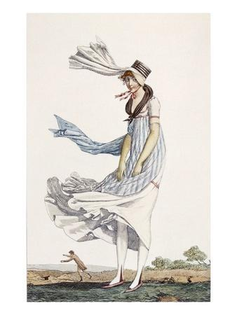 A Ladies Summer Promenade Dress, 1800 (Coloured Engraving)