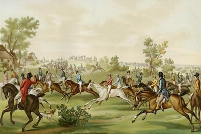 Horse Race - coloured engraving by Debucourt