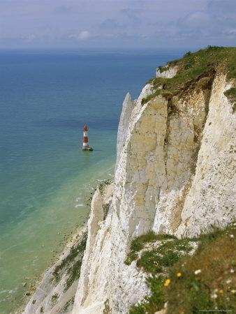 Lighthouse and Chalk Cliffs at Beachy Head, Near Eastbourne, East Sussex, England, UK