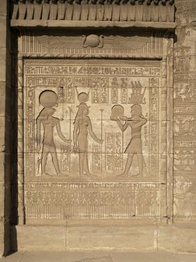 Relief on the Birth-House, Temple of Hathor, Dendera, Egypt, North Africa, Africa by Philip Craven